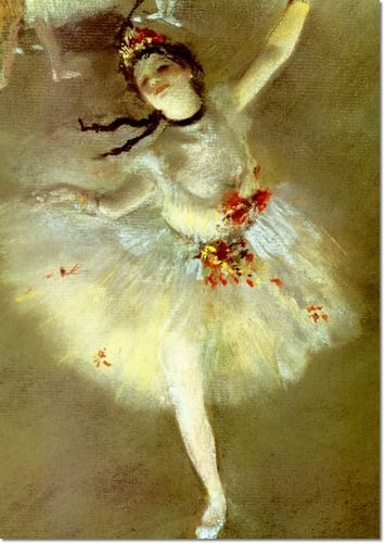 Autore: Edgar Degas Nome: Etoile Data: 1877 Tecnica: Olio su tela Luogo: Musée d'Orsay Descrizione: Degas era affascinato dalle danzatrici. Donna bella e leggiadra, pelle pallida, inquadratura spostata con parte del quadro vuota, luce spettrale.