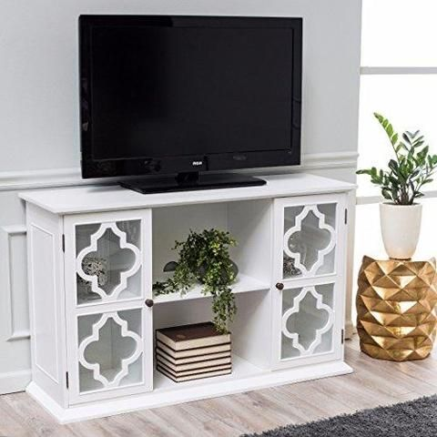 Exotic Modern Moroccan White Quatrefoil TV Stand Media Cabinet with Glass Doors