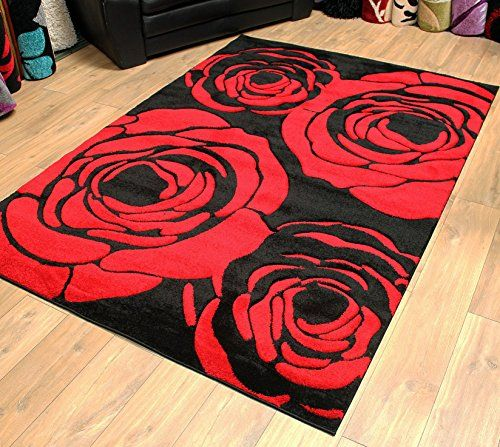 Black And Red Rose Pattern Flower Design Modern Area Rug Choice Of 2 Large Room