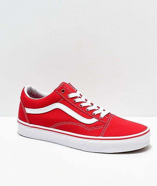 17f61cf923228 Vans Old Skool Formula Red & White Canvas Skate Shoes in 2019 ...