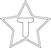 Banner coloring page, letter T