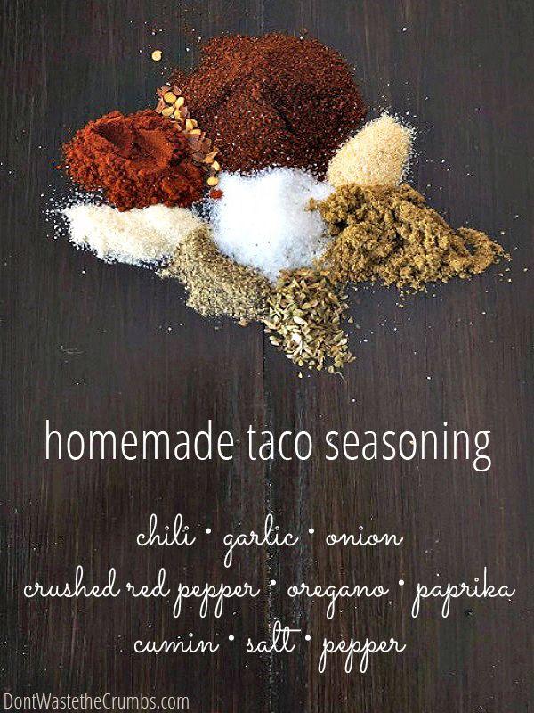 Start saving money by making your own homemade spice blends! Simple recipes for spices like taco seaoning, salt-free substitute (aka Mrs.Dash), dry onion mix, ranch & many more! :: DontWastetheCrumbs.com