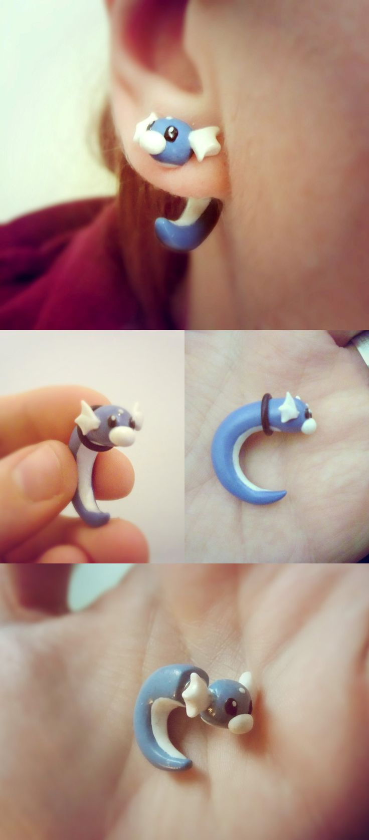 These adorable handmade Dratini plugs have been carefully crafted into shape to fit snug into your ear. Custom size orders can be made and fake gauges are also available for those who want the stretched look without the pain. #pokemon