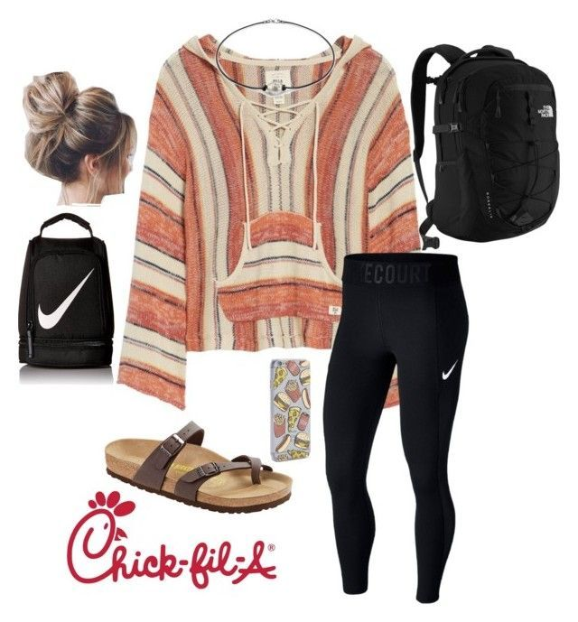 """""""lazy school day"""" by faithjones1223 on Polyvore featuring Billabong, NIKE, Birkenstock, Skinnydip and The North Face"""