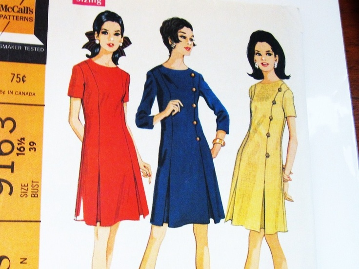 60s McCalls 9163 Dress in 5 Sections with Inverted Pleats and Sleeves Size 16.5 Bust 39. $9.95, via Etsy.