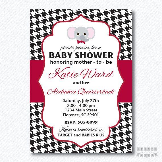 Houndstooth University Of Alabama Baby Shower Boy Invitations