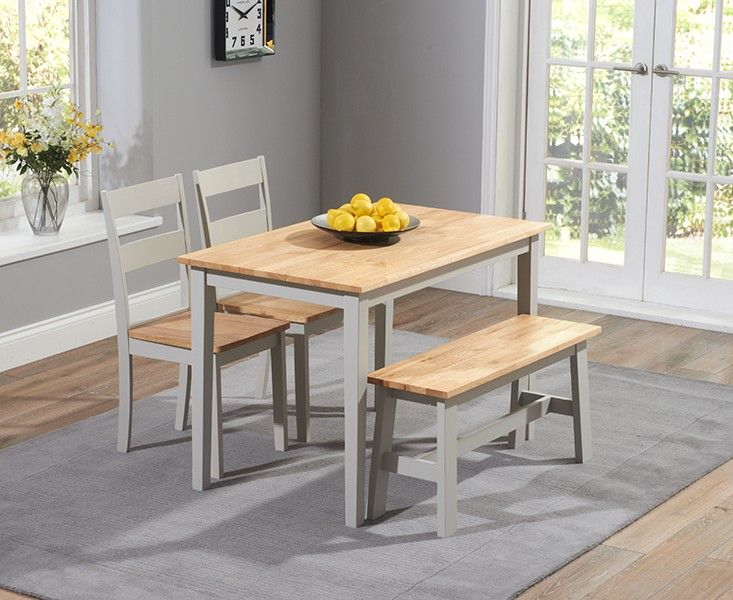 Buy the Chiltern 115cm Oak and Grey Dining Set with Chairs and Bench at Oak Furniture Superstore