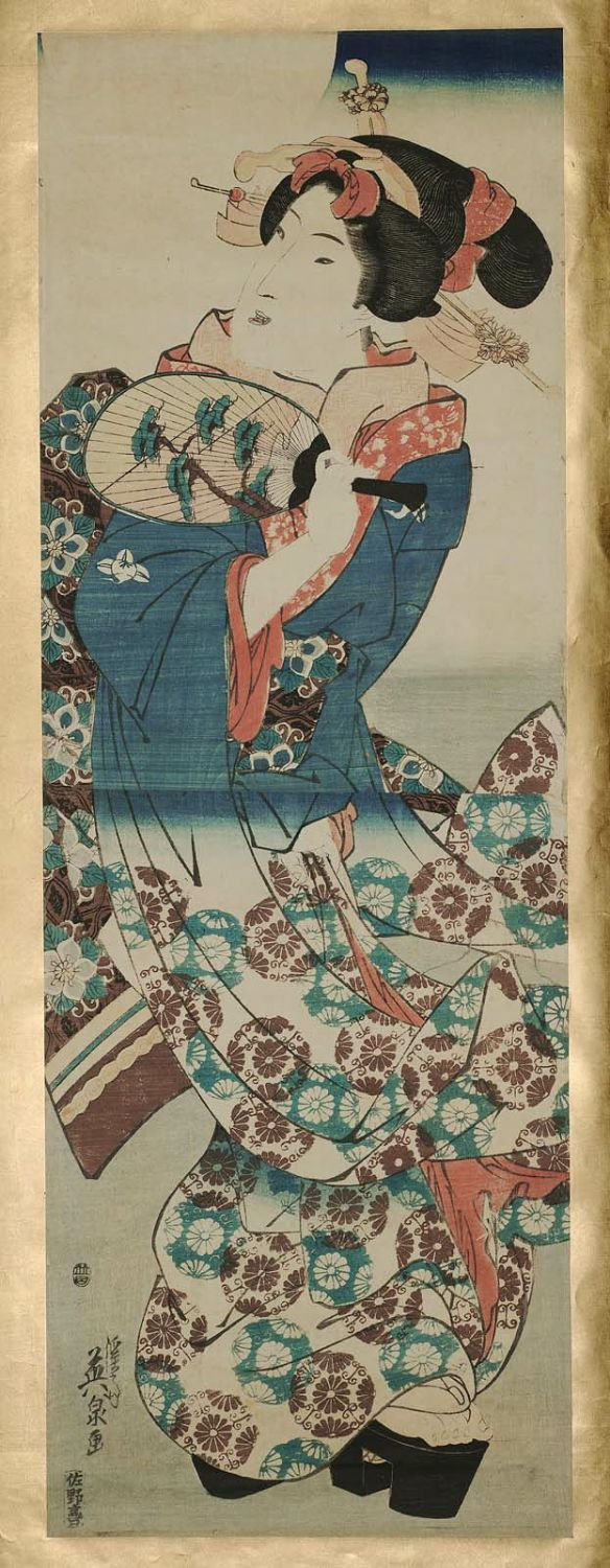 Keisai Eisen: Young Woman with Fan under Full Moon - Museum of Fine Arts