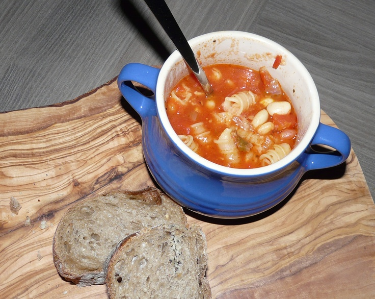 Latest soup creation: Onion, garlic, borlotti beans, tinned tomatoes, pasta, oregano, chilli, salt and pepper. Yum!