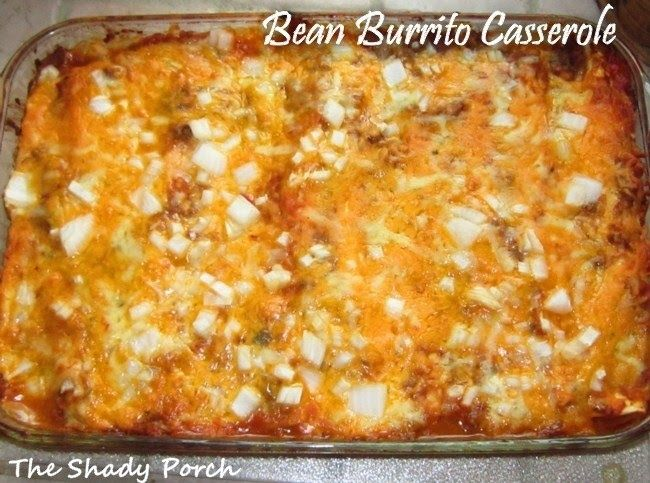 The Bean Burrito Casserole (beans are optional) is tops on the Mexican menu. This inexpensive and delicious meal takes a little over 30 minutes to prepare, and is a savory treat for everyone!