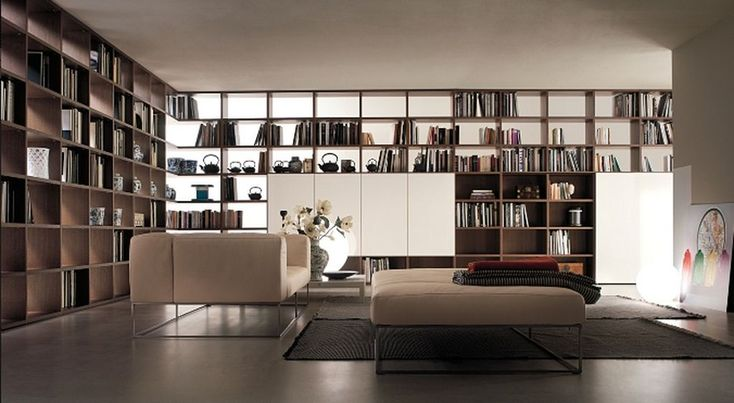 Miscellaneous High End Bookshelves Design : Awesome Modern Minimalist Library Room Decorating With Contemporary High End Bookshelf Ideas Aureasfcom