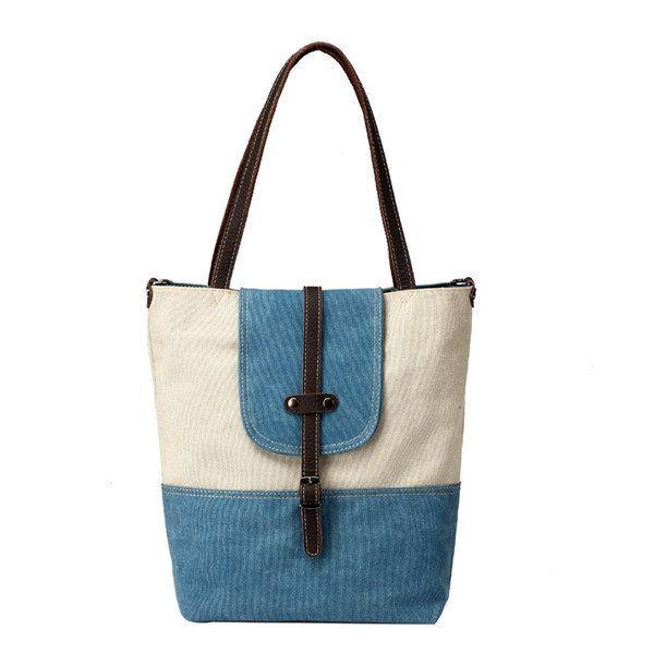 Women Canvas Tote Bags Handbags Casual Belt Shoulder Bags Large Capacity Shopping Bags Crossbody Bag - Banggood Mobile
