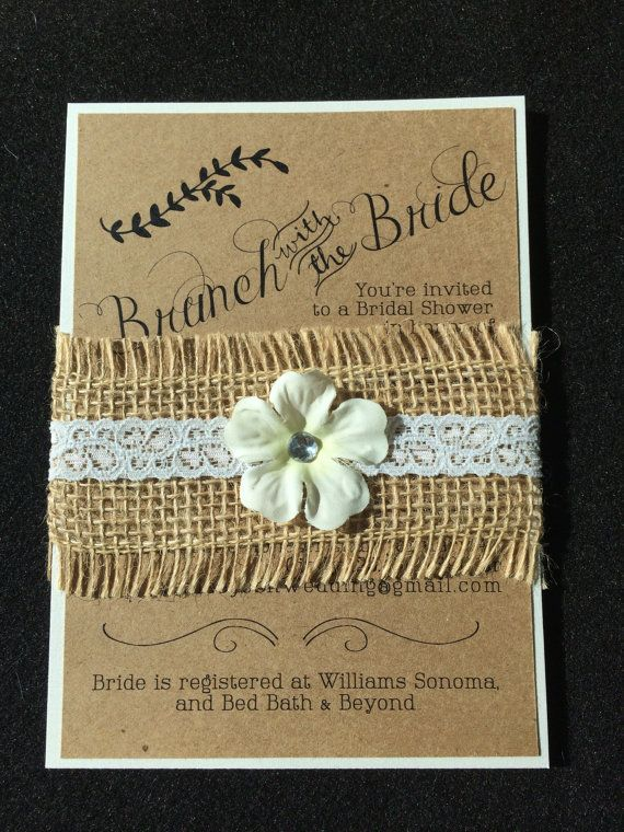 melissa 30 burlap and lace bridal shower invitation with flower accent diy - Bed Bath And Beyond Wedding Invitations