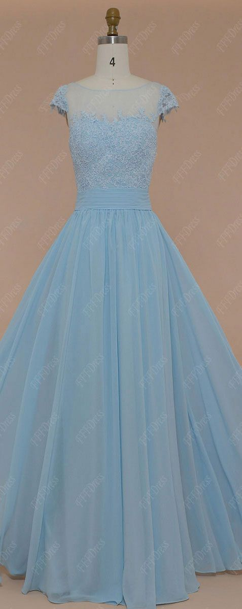 Modest ice blue prom dresses long lace prom dresses cap sleeves light blue evening dresses formal gowns
