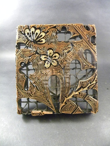 Vintage Tjap Copper Batik Stamp Print Block Java Indonesia Chop Floral
