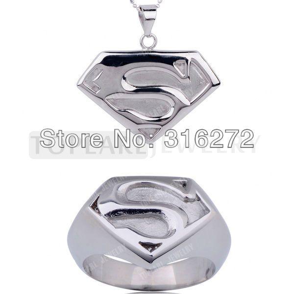 Topearl Драгоценности Супермен Человек из Стали Супергерой Из Нержавеющей Стали Кольцо и Ожерелье