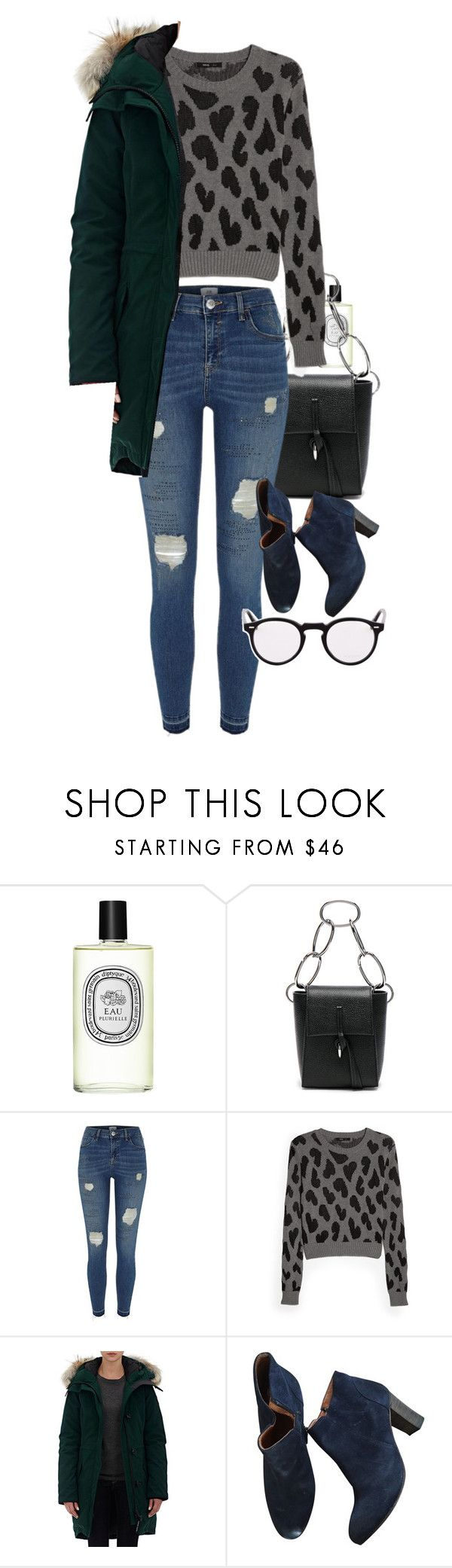 """Untitled #7123"" by ashley-r0se-xo ❤ liked on Polyvore featuring Diptyque, 3.1 Phillip Lim, River Island, MANGO, Canada Goose and Oliver Peoples"