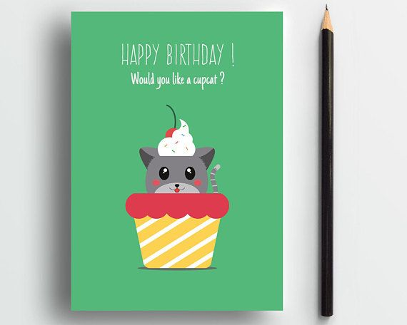 Cat Birthday card, funny cat card, humor birthday card, cat card, cute cat card, cat lover card, cute animal card, pets card, sweet card