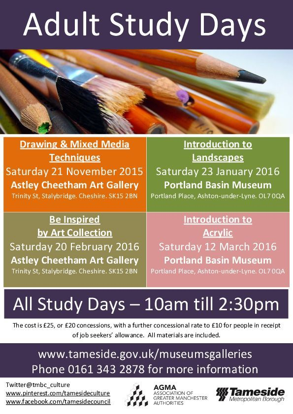 Art study days at Portland Basin Museum and Astley Cheetham Art Gallery - call 0161 343 2878 to book.