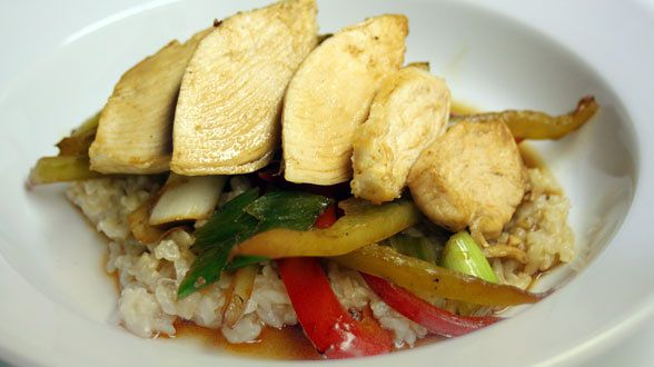 We love stir-fry and now a recipe to make it tasty with brown rice!!! Teriyaki Chicken with Brown Whole Grain Rice