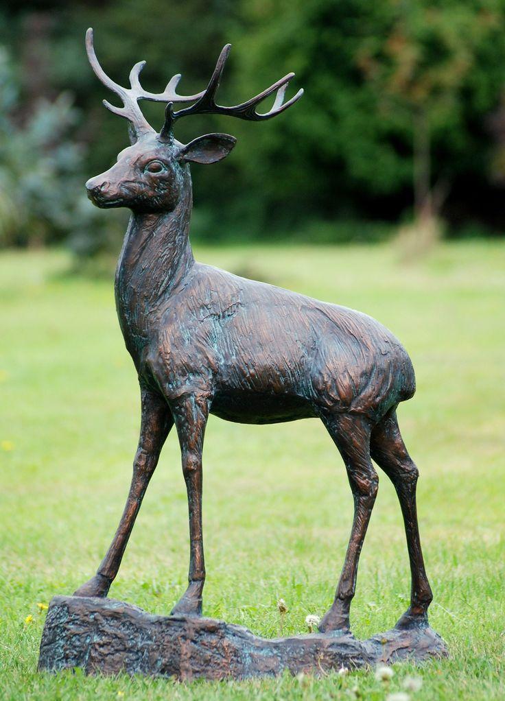 Wild Deer Stag Bronze Metal Garden Statues. Buy now at http://www.statuesandsculptures.co.uk/wild-deer-stag-bronze-metal-garden-statues