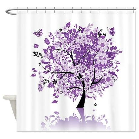 purple shower curtains | ... Gifts > Bloom Bathroom Décor > Purple Floral Tree Shower Curtain