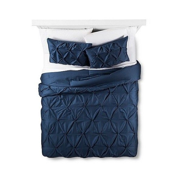 Dark Blue Pinched Pleat Comforter Set ($80) ❤ liked on Polyvore featuring home, bed & bath, bedding, comforters, dark blue, navy shams, navy comforter, navy pillow shams, navy blue bedding and navy blue shams