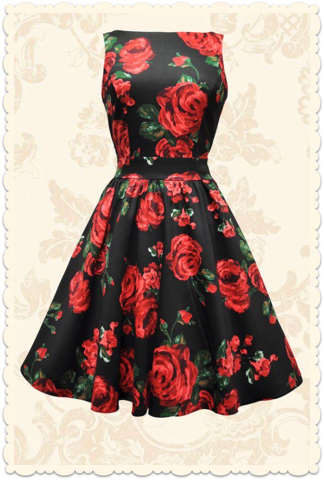Robe rétro courte baby doll Tea fleurs rouge noir - Toutes les robes/Robes évasées - Lady Vintage - missretrochic.com