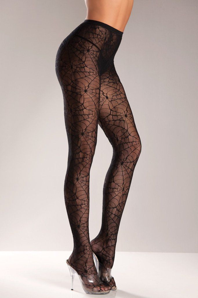 Gothic Halloween Fancy Dress Ladies Lycra Sheer Spider Web Patterned Pantyhose