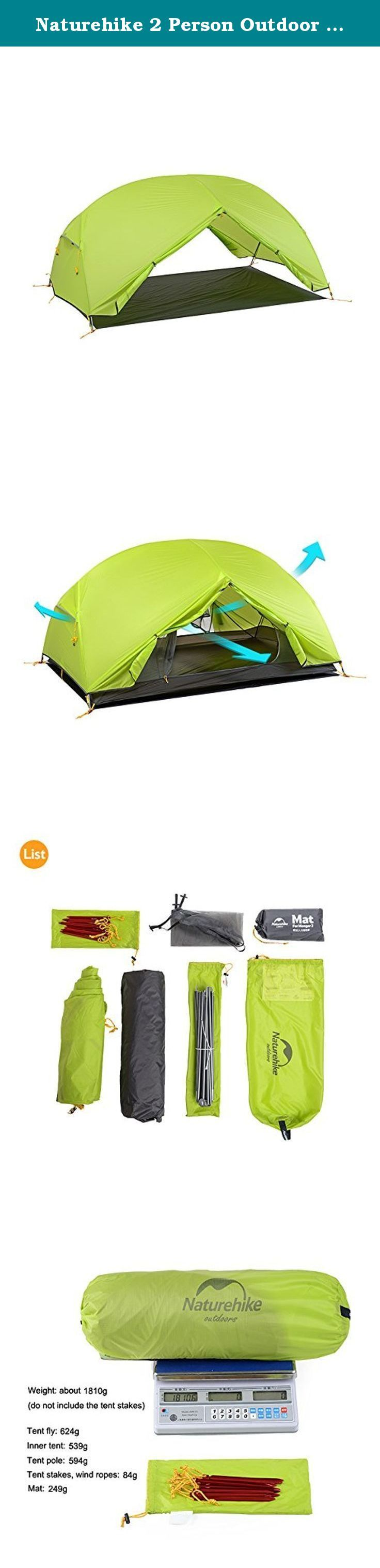 Naturehike 2 Person Outdoor Camping Tent Double-layer Waterproof 3 Season Tent(Green). Brand: Naturehike Model: NH17T006-T Capacity: 1-2 Person Color: Purple,Green,Gray Size: (210+65+65)x125x100cm(LxWxH) Package size: 500x¦Õ150mm Weight: about 1810g(do not include the tent stakes) Applicable seasons: 3 Season Tent fly material: 20D wire grid nylon plaids Tent fly waterproof index: PU waterproof coating 4000mm Inner tent material: 20D wire grid nylon plaids Mesh material: B3 breathable…