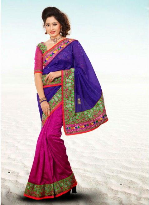 Melodic Magenta & Royal Blue Embroidered #Saree  #clothing #fashion #womenwear #womenapparel #ethnicwear