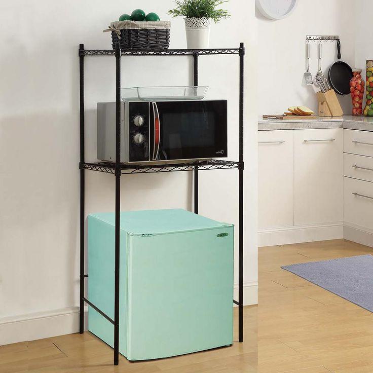 24 in. W x 18 in. D Black Microwave and Mini-Fridge Stand Decorative Shelf