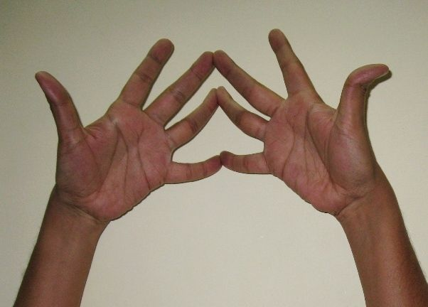 Trimukha Mudra – mudra for improving concentration  Trimukha Mudra or three faced mudra is performed with both hands. Trimukha mudra helps in spiritual advancement. It improves concentration and induces self-healing. Good for relieving headache.