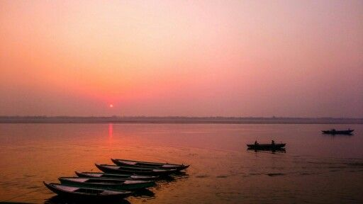 Sunrise over Ganges, seen from the shores of Varanasi, India