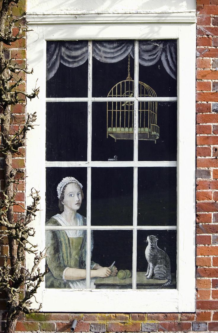 The false window (trompe-l'oeil),  painted by Dora Carrington on the west front of the Biddesden House, Wiltshire ...