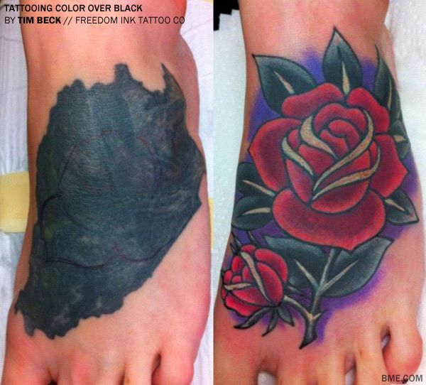 Tattooing colour over black tattoos. P.S.  Tim Beck uses Eternal and some starbrite pigments.
