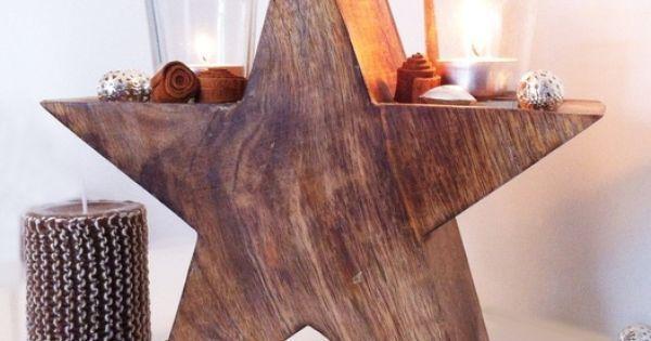 Weihnachtsdeko - Holzstern mit 2 Windlichtern - ein Designerstück von EuliundCo bei DaWanda | Basteln | Pinterest | Stars, Candle Holders and Candles