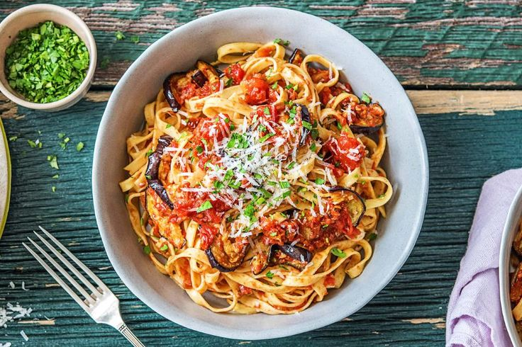 Aubergine Tagliatelle with Sun-Dried Tomato Recipe | HelloFresh