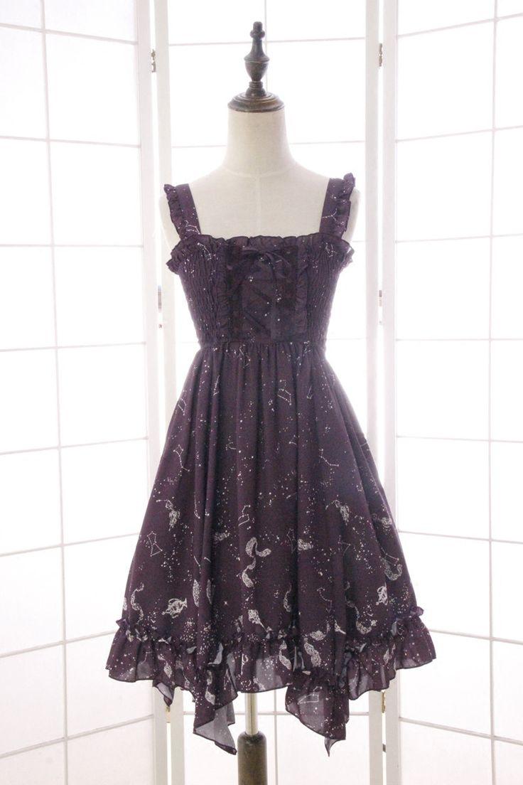 Sweet Branded Asymmetrical Women's Midi Dress Sleeveless Starry Night Constellation Printed Summer Dress