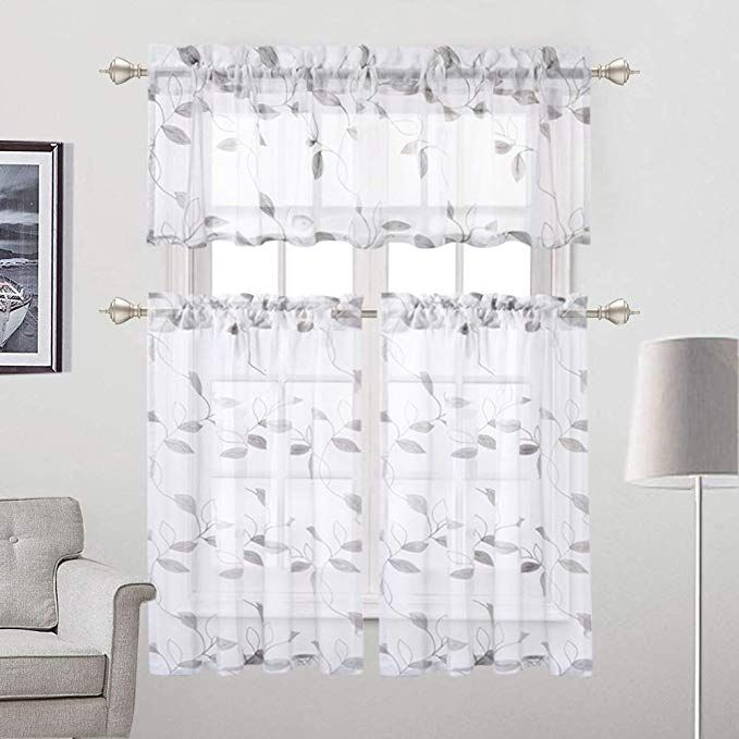 Amazon Com Haperlare Embroidered Sheer Tier Curtains Leaves Pattern Matched Ribbon Embroidery Sh Curtains Voile Curtains Living Room Bathroom Window Curtains
