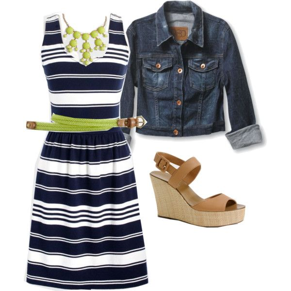 Navy and lime, created by lovesjcrew on Polyvore