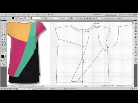 Tişört kalıbı üzerine model uygulama 14  / T-short pattern on the model ...