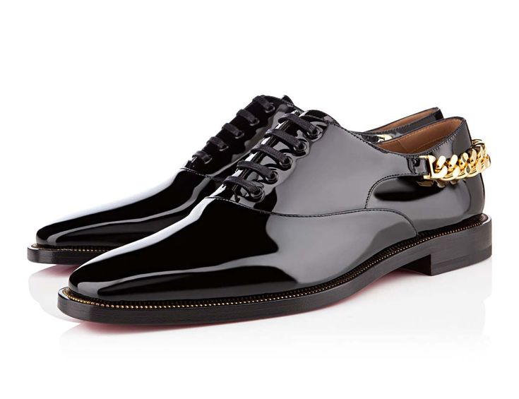 Christian Louboutin Stage Gold Chain Black Patent Leather Shoes