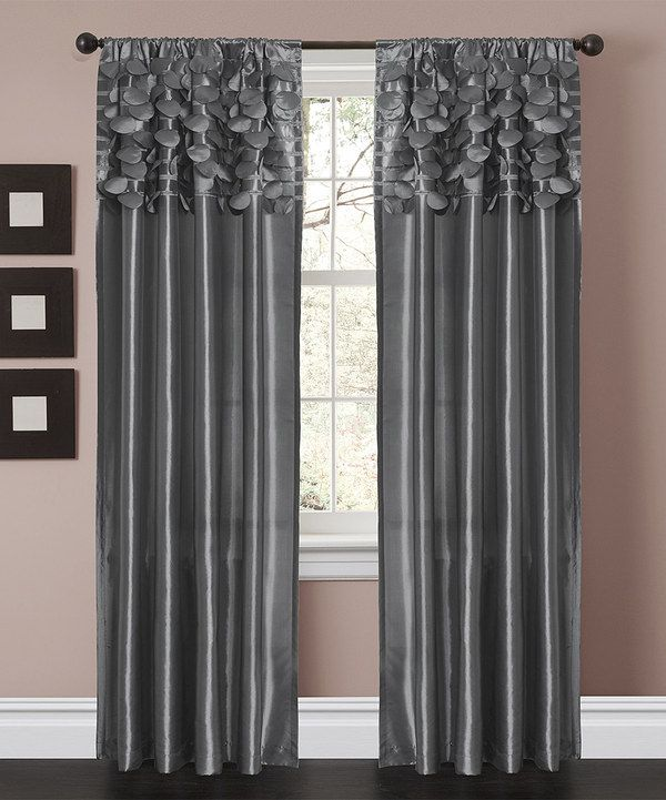 Gray Panel Curtains With Sequins
