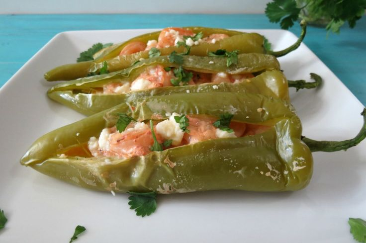 Shrimp Stuffed Anaheim Peppers - Spicy peppers stuffed with seasoned shrimp, salsa and cheese.