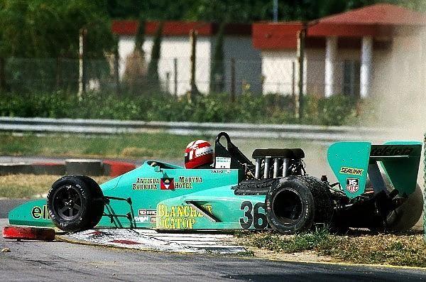 """Paul Belmondo (FRA) GBDA Lola T87/50 recovers from a spin."" : Paul Belmondo - Lola T87/50 [HU2] Cosworth DFV/Mader GDBA - XXV Gran Premio del Mediterraneo - 1987 Intercontinental Formula 3000 Championship, round 6 - © Sutton Motorsport Images"