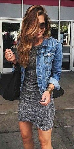 #fall #fashion / gray dress + denim shirt