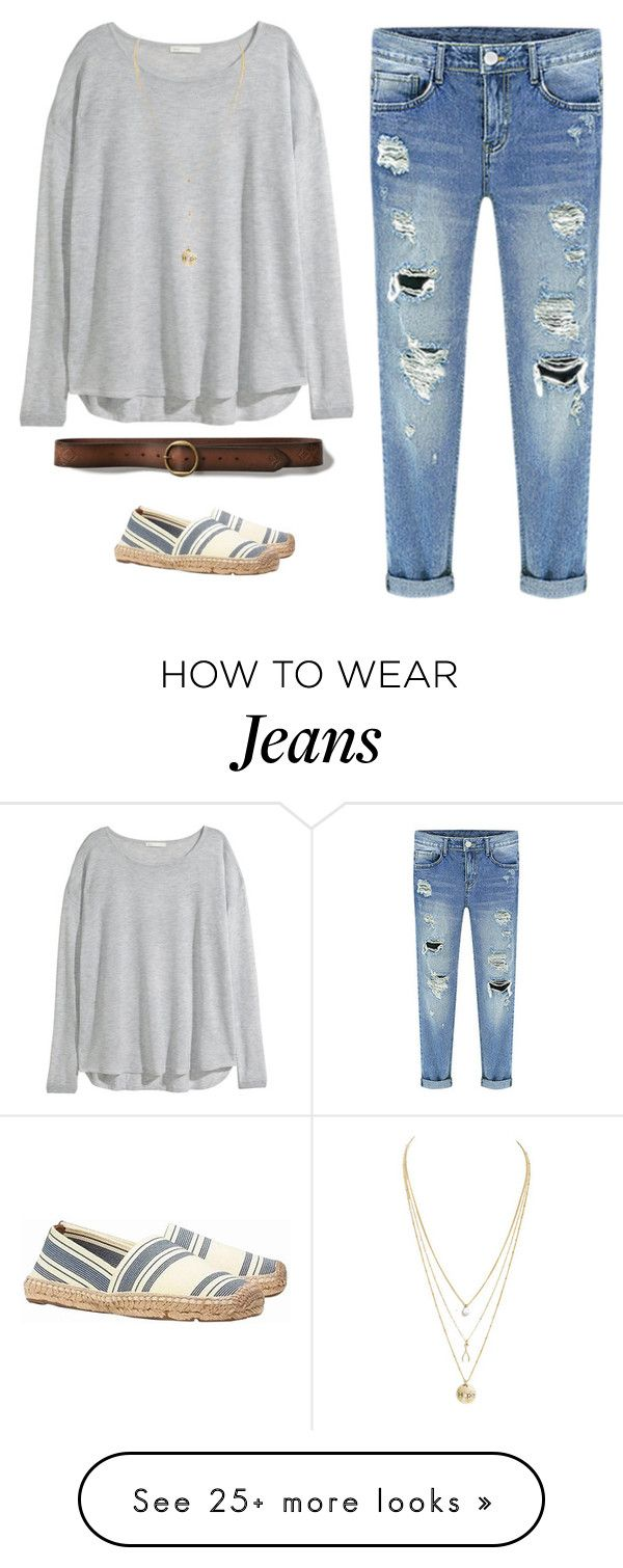 """How to style boyfriend jeans 2"" by fashsionfantasy on Polyvore featuring H&M, Abercrombie & Fitch and Tory Burch"