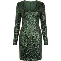 Dark Green Sequin V Neck Bodycon Mini Dress