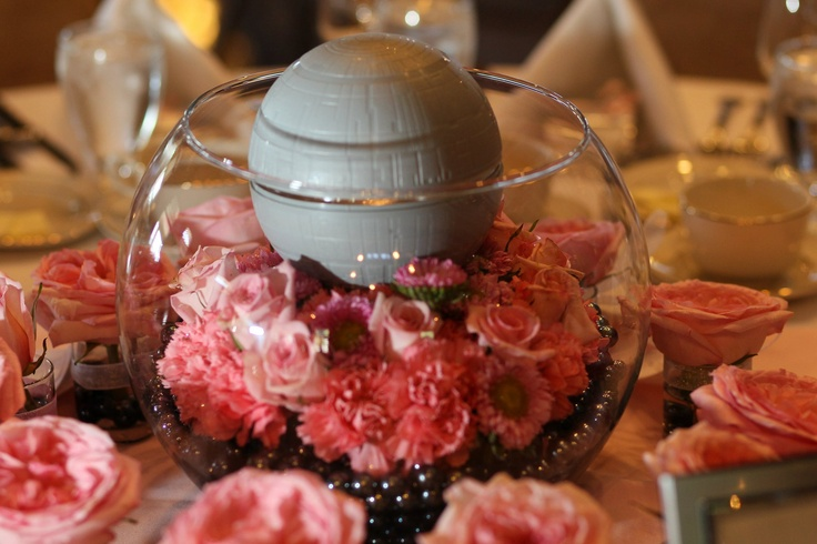 Our centerpieces each represented a planet in the Star Wars universe.  This one was the Death Star.